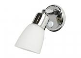 FRILIGHT Interior Light, chrome-plated brass / white glass shade